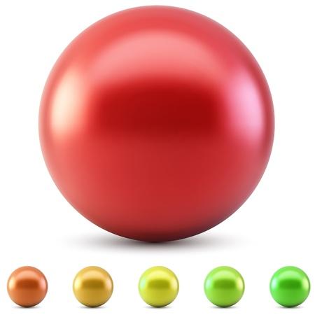 Rode glanzende bal vector illustratie geïsoleerd op een witte achtergrond met warme kleuren monsters