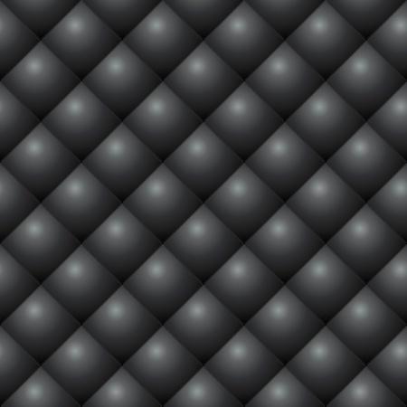 diamond shaped: Seamless black diamond stitched leather vector texture  Illustration