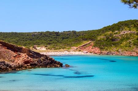 Cala de Algariens seascape in sunny day at Menorca, Spain  photo
