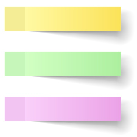 yellow sticky note: Color sticky notes vector template with shadow