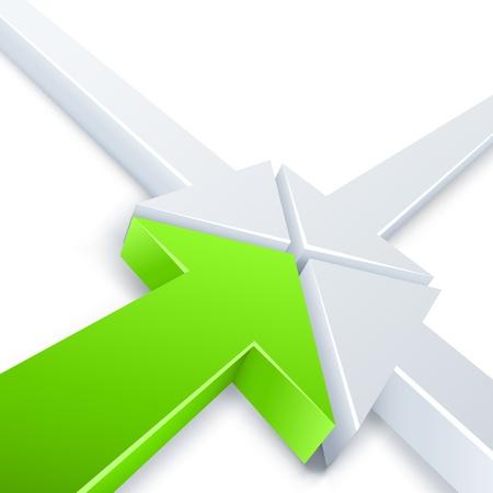 encounter: Estratto 3 bianco e 1 verde incontro frecce in un punto concetto Affari vettoriale sfondo