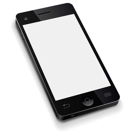 3D mobiele telefoon sjabloon met lege witte scherm realistische Stock Illustratie