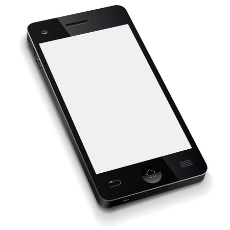 3D mobile phone template with blank white screen realistic