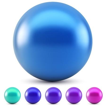 Blauwe glanzende bal geïsoleerd op een witte achtergrond met koude kleuren monsters