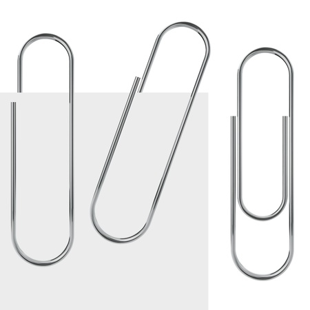 paper fastener: Metal paperclip template isolated on white background with samples