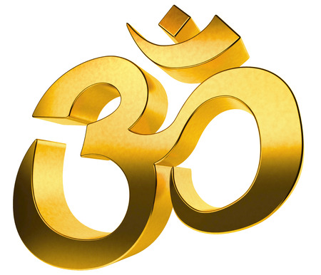 3d aum: 3D gold hindu sign isolated on white