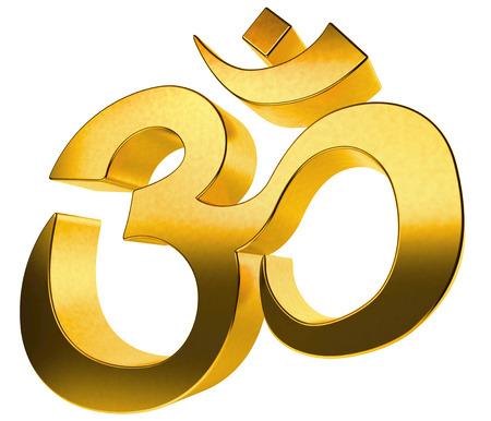 ohm symbol: 3D gold hindu sign isolated on white