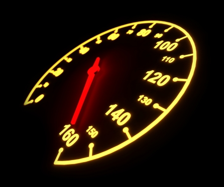 kilometer: Glowing light automobile speedometer dial isolated on black background