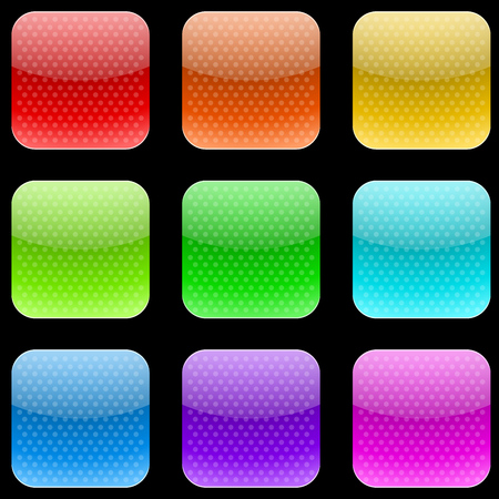 varicolored: Vector set of varicolored dotted rounded square buttons isolated on gray background