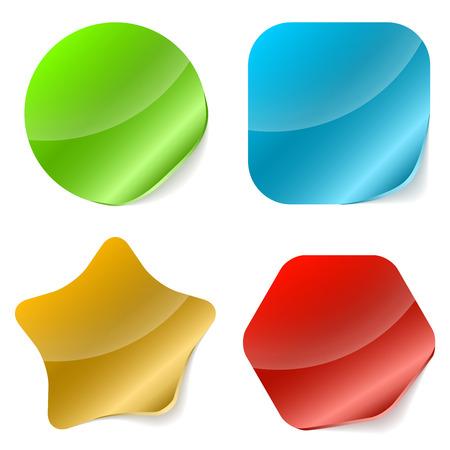 Kleur afgerond lege stickers met gekrulde rand illustratie Stock Illustratie