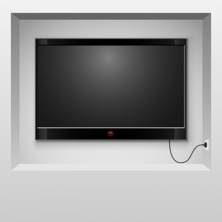 Modern TV hanging in wall niche illustration  Vector