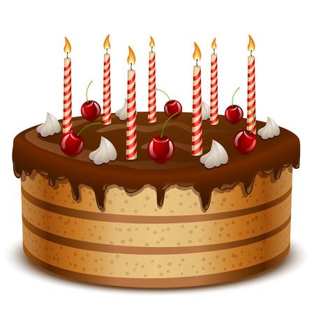 白い背景ベクトル イラスト上に分離されてキャンドルで誕生日ケーキ