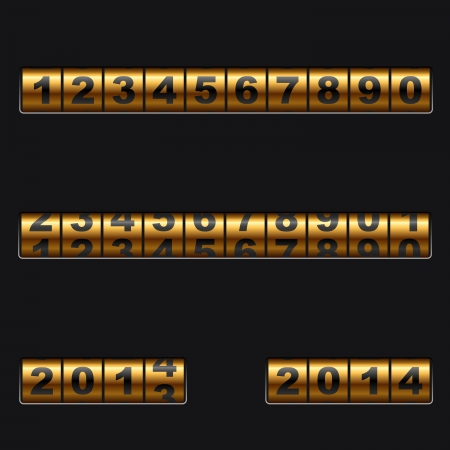 outdated: Out-dated mechanical golden counter vector template  Easy to edit and combine any numbers