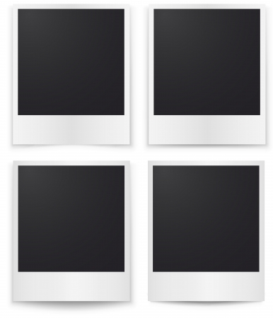 Blank photos template with shadow isolated on white background