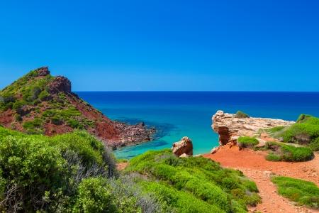 Mediterranean sea view from Menorca island coast at Cala del Pilar, Spain  스톡 콘텐츠