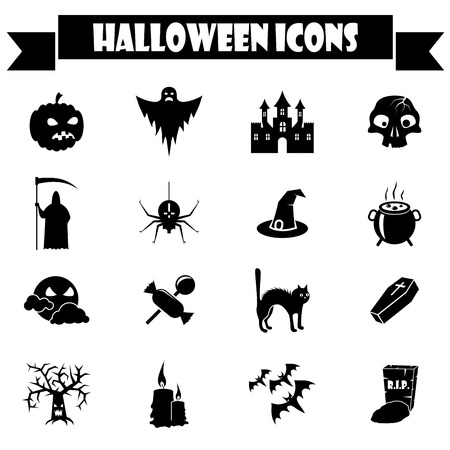 Black and white Halloween vector icons set  Vector