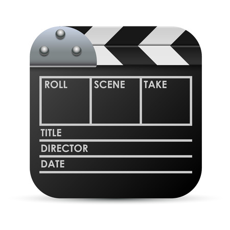 directors cut: Movie clapboard vector icon isolated on white background