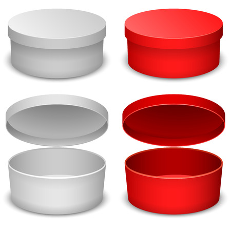 Round box vector template isolated on white background in white and red variant  Vectores