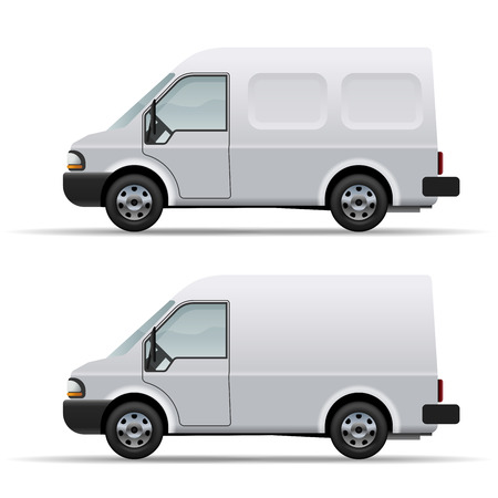 delivering: White delivery van realistic vector icon isolated on white background