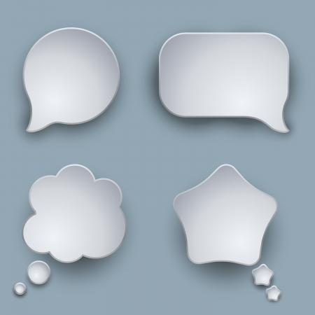 Blank white 3D speech balloons vector template with shadow