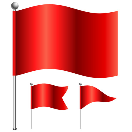 Red flags vector illustration with 3 shape variants