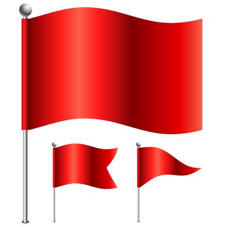 Rode vlaggen vector illustratie met 3 varianten van de vorm Vector Illustratie