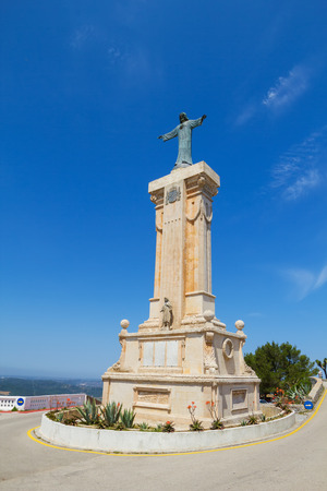 Statue of Jesus of the Sacred Heart at Menorca Island highest point Monte Toro, Spain
