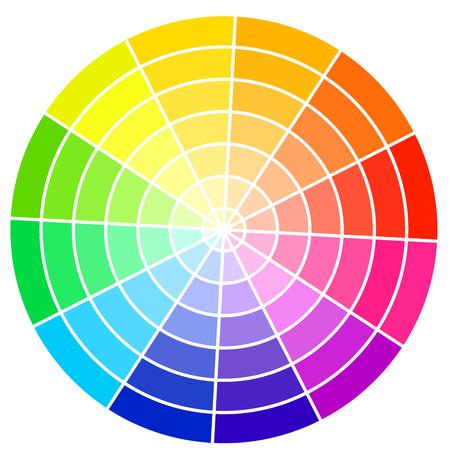 circulos concentricos: Rueda de colores estándar aislado en el fondo blanco ilustración vectorial