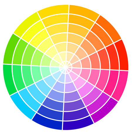 colours: Standard color wheel isolated on white background vector illustration