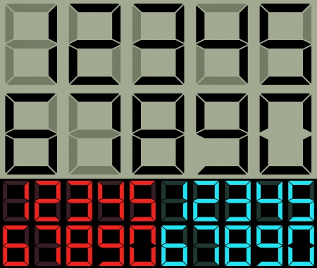 lcd: Calculator and table clock digits vector template