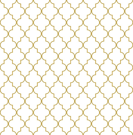 grille: Seamless golden oriental window grille vector pattern