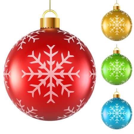 Blank colorful Christmas balls with snowflake pattern isolated on white  Vector