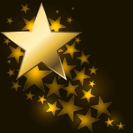 star shaped: Abstract starry background with golden star shaped label