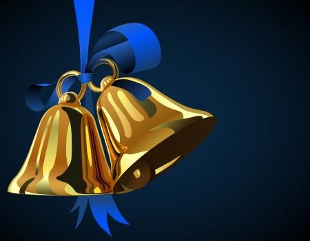 campanas de navidad: Par de campanas de Navidad colgando de la cinta azul con copia espacio Vectores