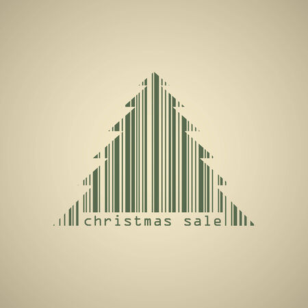 Christmas tree bar code sale banner vector template  Vector