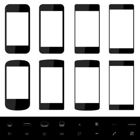 Set of smartphone shapes with blank screen and control elements at the bottom Stock Vector - 24201002