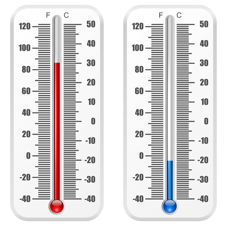 glass thermometer: Standard thermometer vector template isolated on white background  Illustration