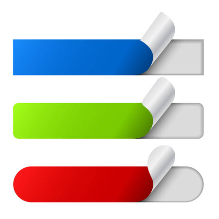 peeling corner: Peeling color labels set isolated on white background
