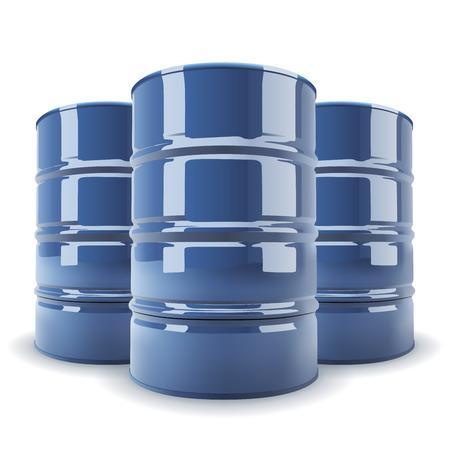 toxic barrels: Grupo de 3 azul barril est�ndar de metal aislado en blanco