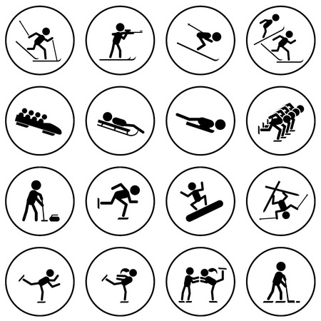 Black and white winter sports vector icons set  Vector