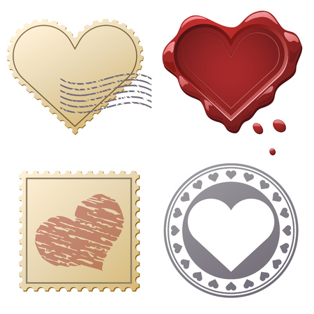 wax: Valentine postage set with stamps and seals isolated on white