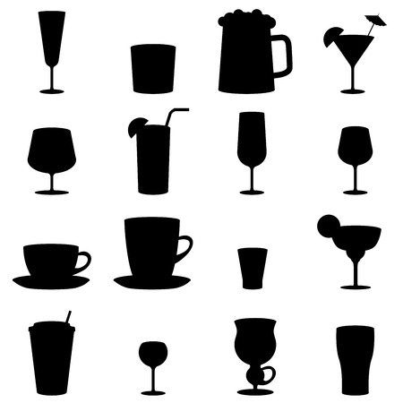 Black and white drink glass icons isolated on white background  Vector
