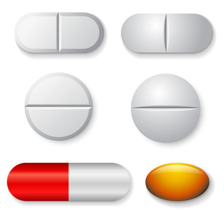 white pills: Standard tablets and pills vector set isolated on white background