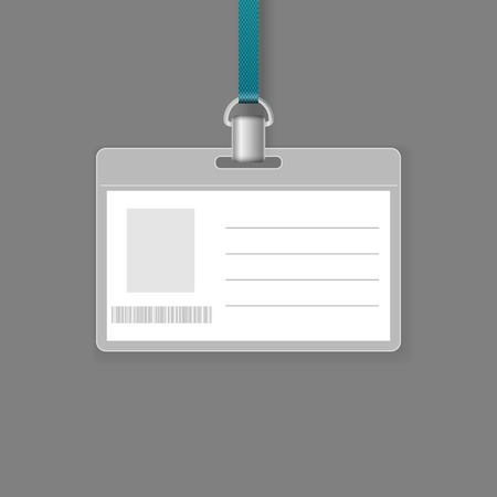 Blank Id Badge Vector Template Isolated On Grey Background Royalty