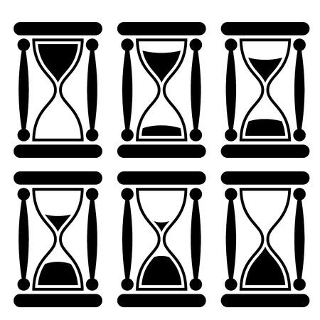passing: Blanco y negro icono de reloj de arena que ilustra paso del tiempo Vectores