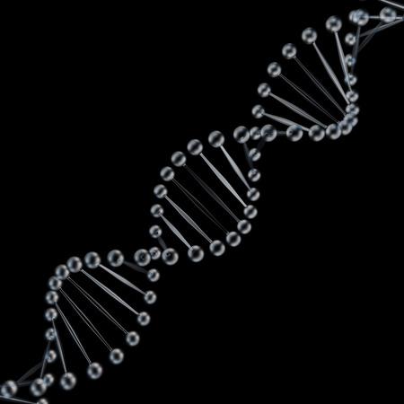 Glass DNA spiral 3D render on black background