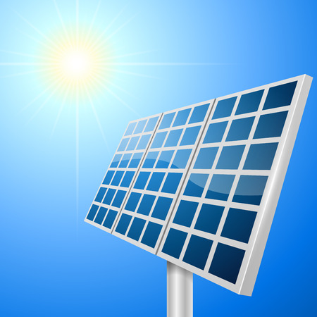 ecologically: Solar panel vector illustration with bright sun background
