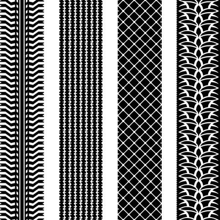tire imprint: Seamless tire tracks vector template set