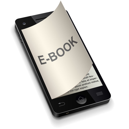 ebook reader: 3D smartphone e-book concept with curled title page  Illustration