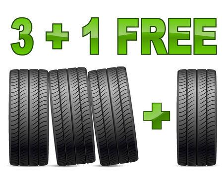 summer tires: Promoci�n de ventas Neum�ticos de verano aislados en el fondo blanco Vectores